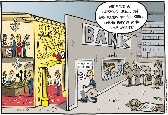 Political cartoon on the financial crisis. By Max Gustafson.