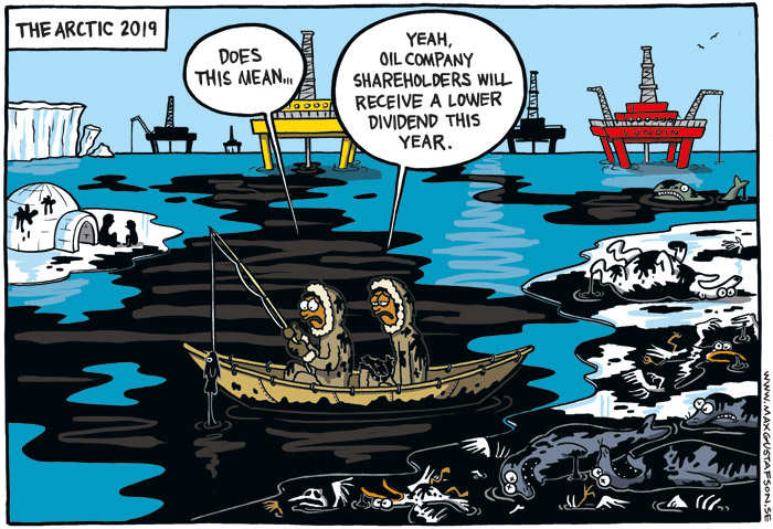 Satirical cartoon on the arctic oil exploration. By Max Gustafson.
