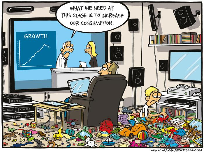 Political cartoon on consumer society. Created by Max Gustafson.