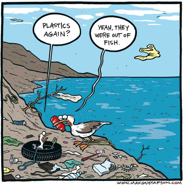 Cartoon on plastics in our oceans. By Max Gustafson.