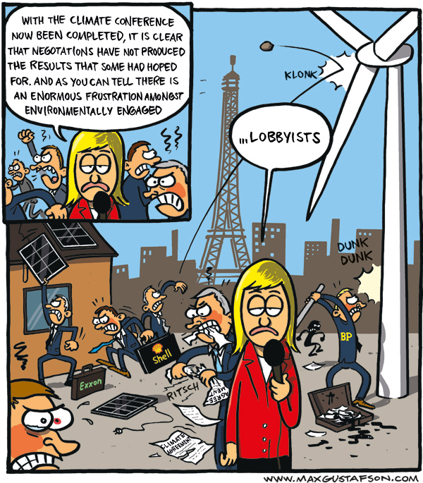 Cartoon on the climate meeting in Paris. By Max Gustafson.