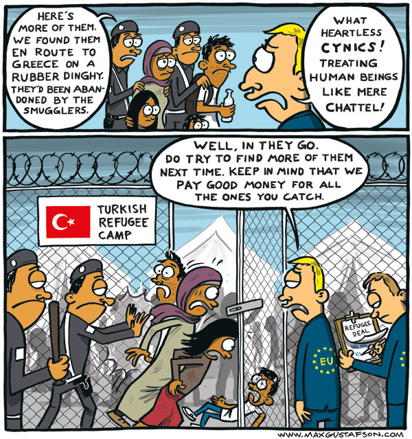 Hypocritical european refugee policy. Political cartoon by Max Gustafson.