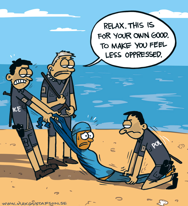 Cartoon, dealing with the french burkini prohibition. By Max Gustafson.