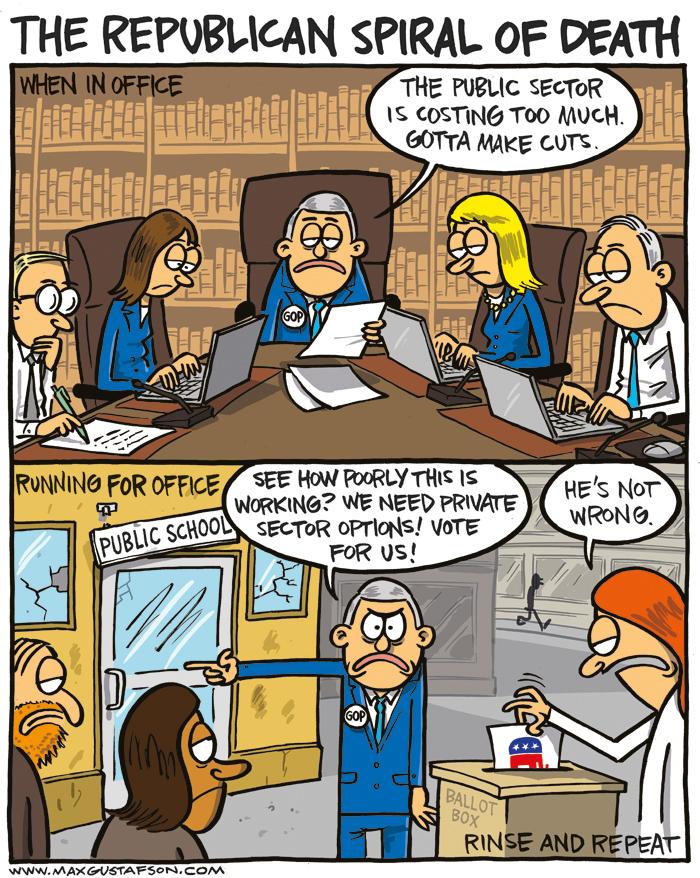 Seems legit. Cartoon on privatization, by Max Gustafson.