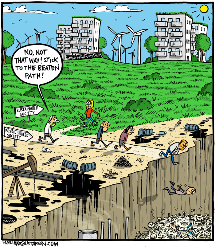 Climate change cartoon by Max Gustafson.