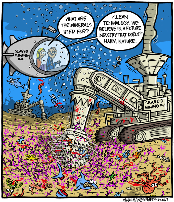 Eco-friendly ecocide. Cartoon on mining in the deep sea, by Max Gustafson.